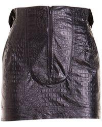 Amen Croco Print Faux Leather Skirt - Black