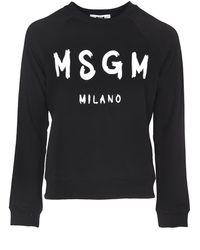 MSGM - Felpa Nera Con Logo A Contrasto - Lyst