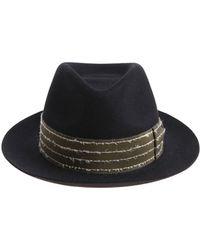 Borsalino - Cappello Rasato nero con inserto verde - Lyst