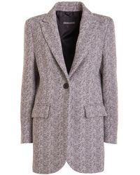 Ermanno Scervino Herringbone Short Coat - Grey
