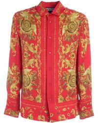 Versace Jeans Couture - Camicia Rossa Con Motivo Rococo - Lyst