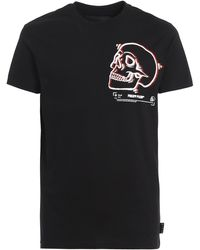 Philipp Plein - Outline Skull Cotton T-shirt - Lyst