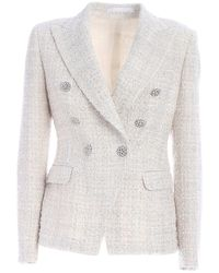 Tagliatore Double-breasted Bouclé Jacket - White