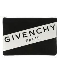 Givenchy - Xl Clutch Bag With White Logo - Lyst
