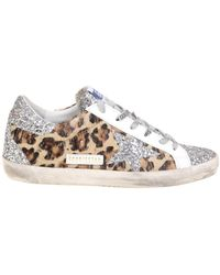 Golden Goose Deluxe Brand Superstar Animal Print Sneakers With Glitter - Multicolour
