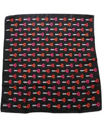 Lulu Guinness Lipstick Black Foulard With Multicolor Prints