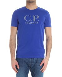 C P Company - Electric Blue T-shirt With Logo Print - Lyst