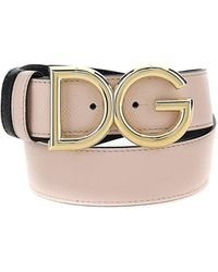 Dolce & Gabbana Reversible Dauphine Calfskin Belt With Dg Logo - Pink