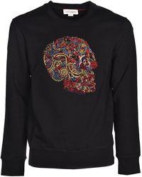 Alexander McQueen Embroidery Multicolour Skull Sweatshirt - Black