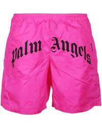 Palm Angels Branded Swim Trunks - Pink