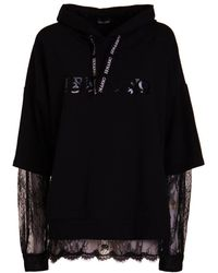 Ermanno Scervino Lace Sleeve Cotton Hoodie - Black