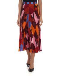 Stella Jean Gonna plissè multicolor - Rosso