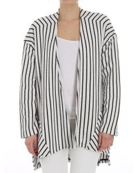 Manila Grace - Black And White Striped Cardigan - Lyst