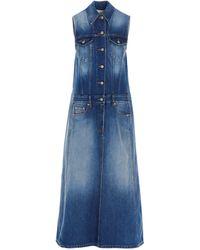 MM6 by Maison Martin Margiela Vestito Bi-Fabric Denim Blu