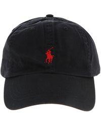 Polo Ralph Lauren Cappellino nero con logo a giocatore rosso