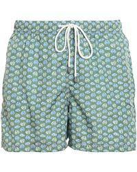 Fedeli Printed Nylon Swim Shorts - Green