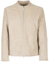 Paolo Pecora Faux Leather Zipped Jacket - Natural