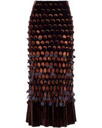 Maison Margiela Drilled Velvet Skirt - Brown