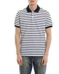 Fay - Striped Print Polo Shirt - Lyst