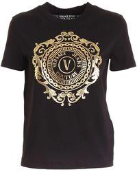 Versace Jeans Couture T-Shirt Nera Con Logo - Nero