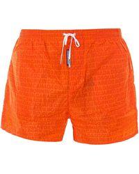 DSquared² All-over Logo Swim Shorts - Orange