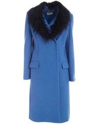 be Blumarine Notch Lapels Coat - Blue