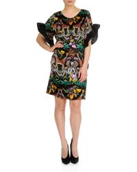 Shirtaporter Short Ruffle Dress In Black And Multicolor