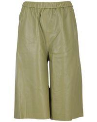 FEDERICA TOSI Smooth Leather Bermuda Trousers - Green