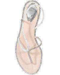 Rene Caovilla Rhinestone Thong Sandals - Natural