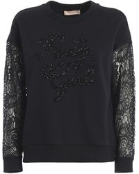 Twin Set Party Girl Embroidery Sweatshirt - Black