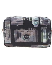 Paul Smith Washbag With Multicolor Camera Print - Gray