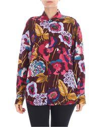 Aspesi - Burgundy Floral Printed Shirt - Lyst