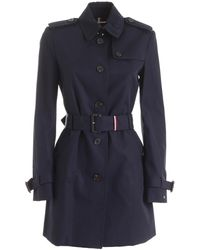 Tommy Hilfiger Heritage Blue Trench Coat Featuring Logo