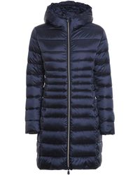Save The Duck Ultra Light Breathable Hooded Padded Coat - Blue