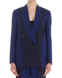 Paul Smith - Navy And Cobalt Blue Double-breasted Blazer - Lyst