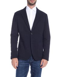 Paolo Pecora Blue Single-breasted Jacket With Notch Lapels