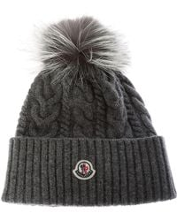 382e8b5313a Moncler - Grey Wool And Cachemire Beanie - Lyst