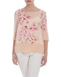 Twin Set Blusa color rosa cipria con stampa floreale