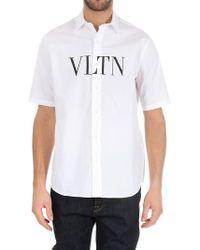 Valentino - White Short Sleeve Shirt With Logo - Lyst