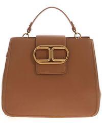 Elisabetta Franchi Golden Logo Handbag - Brown