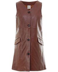 L'Autre Chose - Leather Short Dress In Brown - Lyst