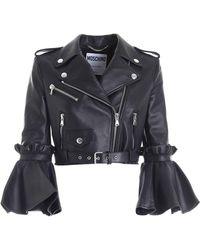 Moschino Black Crop Fit Biker Jacket Featuring Maxi Ruffles