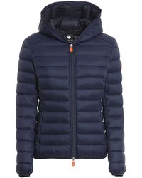 Save The Duck Quilted Hooded Jacket - Blue