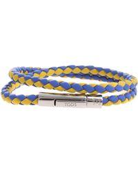 Tod's Bracciale My Colors intrecciato blu e giallo