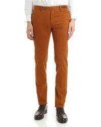 PT01 - Rust Colour Textured Cotton And Wool Trousers - Lyst