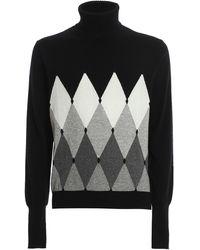 Ballantyne Argyle Cashmere Sweater - Black