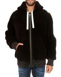 Acne Studios Hooded Shearling Jacket Chocolate Dark Brown
