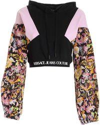 Versace Jeans Couture Felpa Crop Multicolore Stampa Versailles - Nero