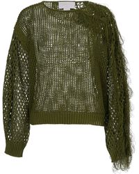 Genny Drilled Pullover With Fringes - Green