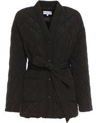 Patrizia Pepe Tie-waist Quilted Jacket - Black